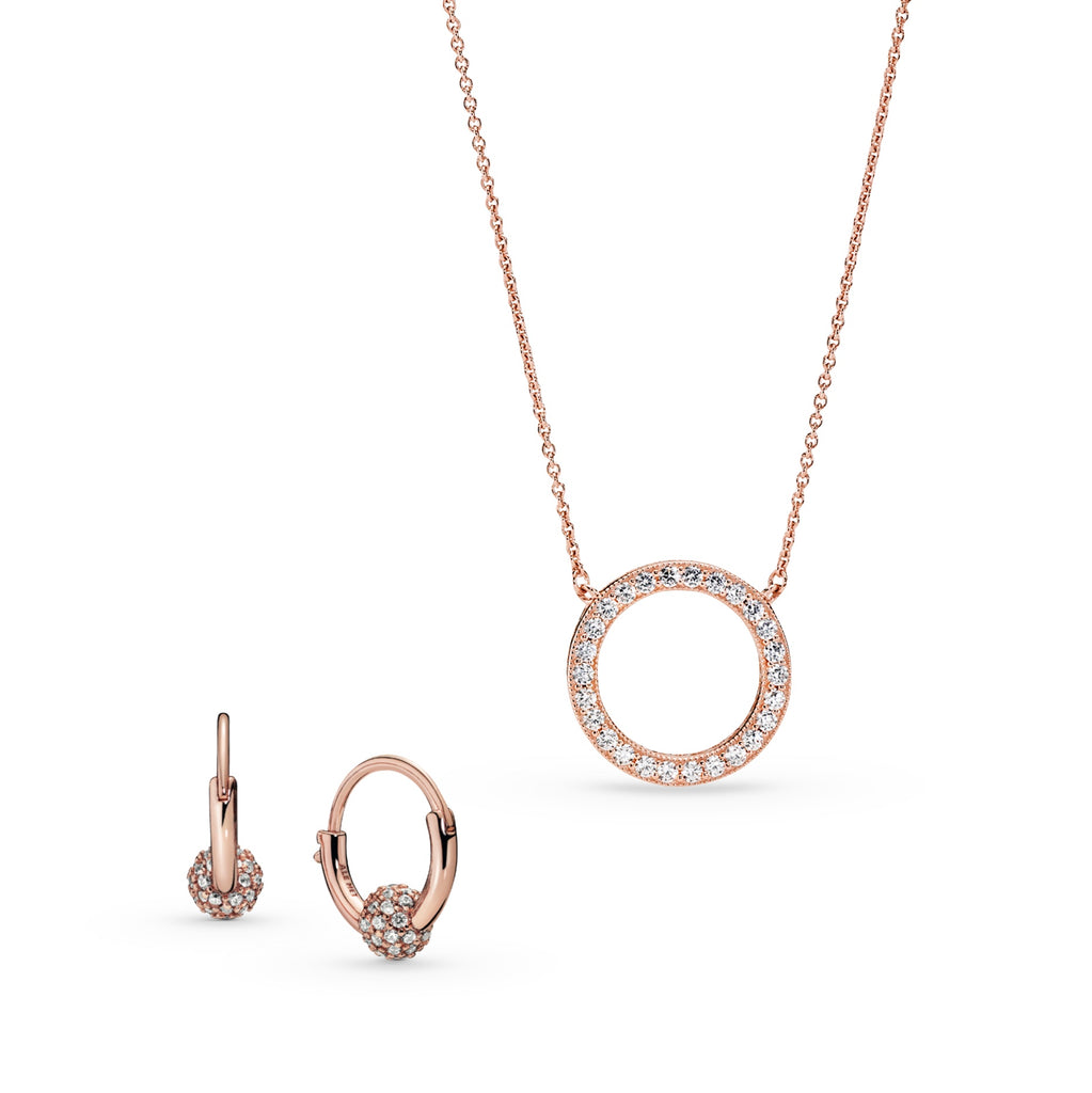 Pandora Rose Perfectly Pave Bead Hoop Earrings and Hearts of Pandora Circle of Sparkle Necklace.