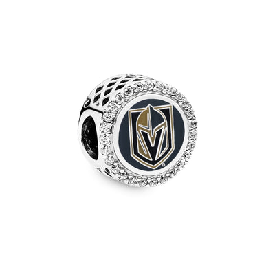 Pandora NHL Vegas Golden Knights Charm front view. VGK logo engraved  In team colors on sterling silver hockey puck shaped charm with CZs circling the charm in the edge