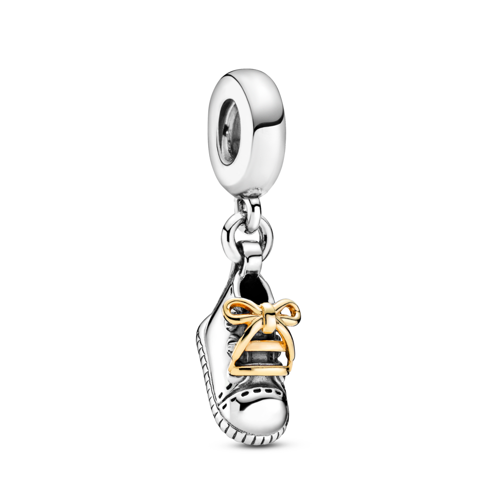 Pandora baby shoe dangle charm in sterling silver with 14k gold laces
