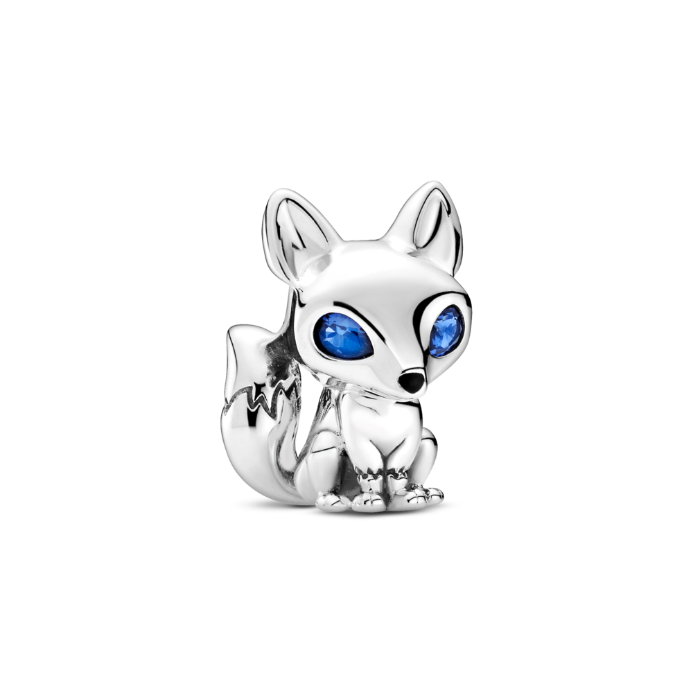 Pandora 3D Blue crystal eyed fox charm with black enamel nose in sterling silver