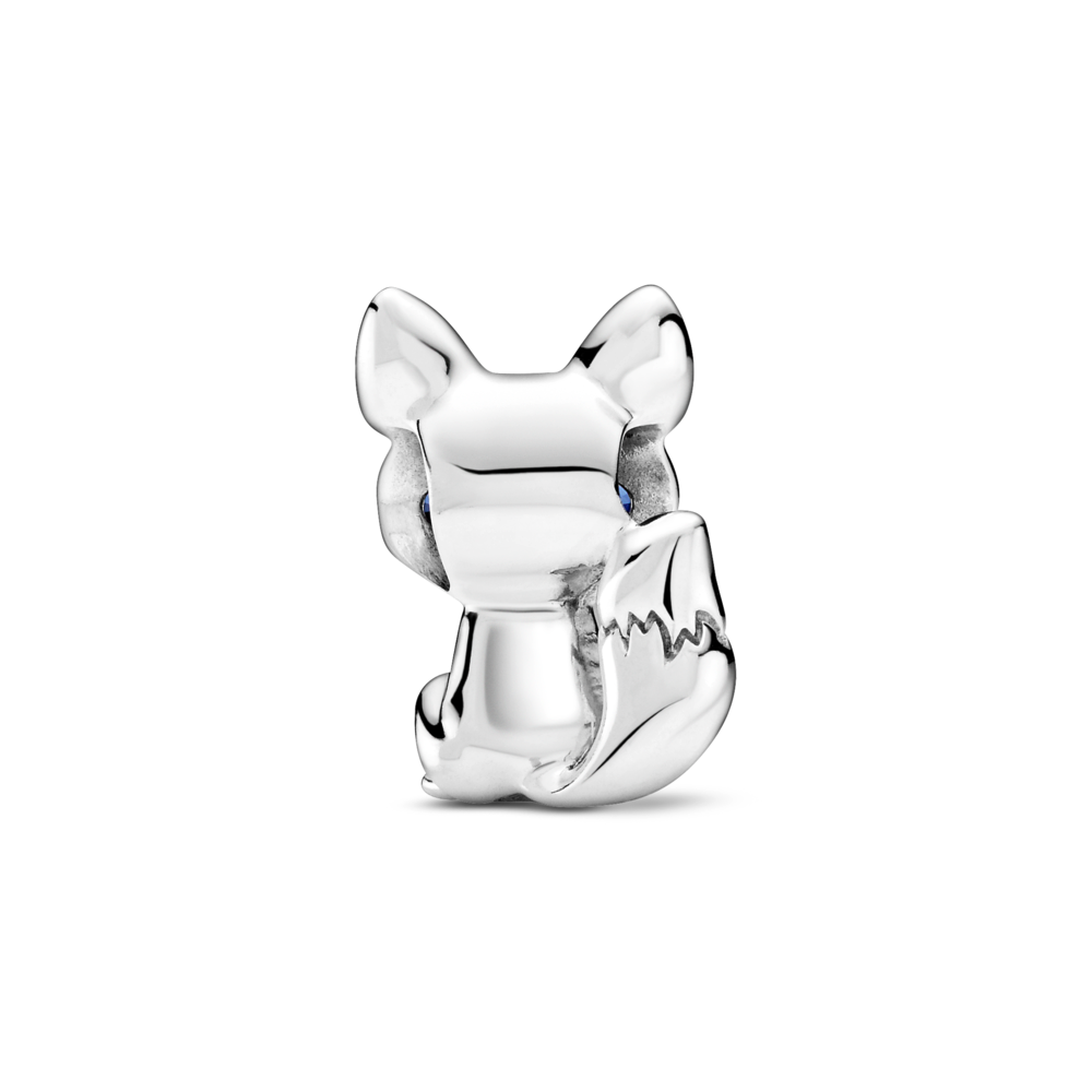 back side of pandora blue-eyed fox charm highlights pointy ears and bushy tail in sterling silver