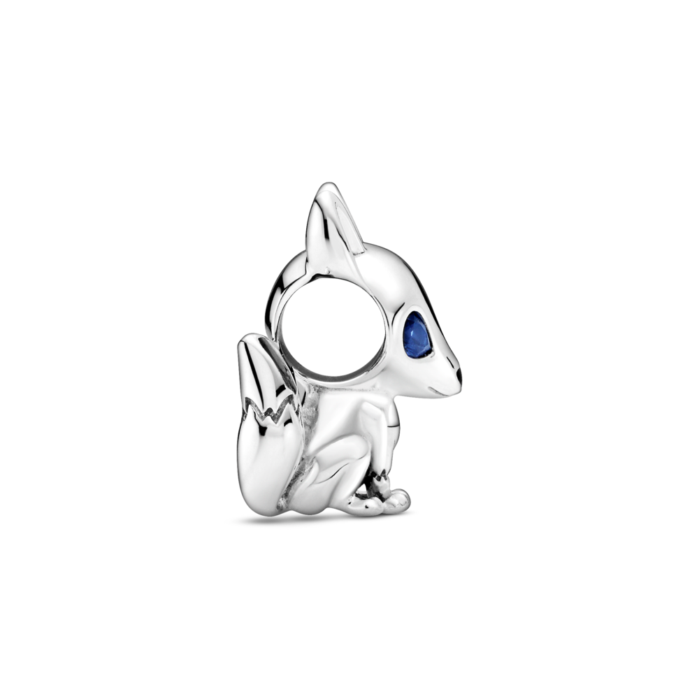 profile view of 3D pandora blue-eyed fox charm sitting down in sterling silver