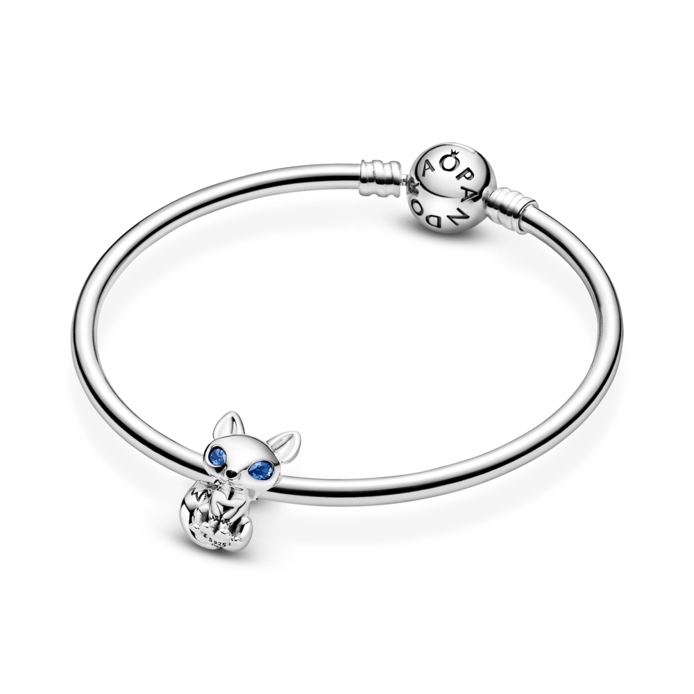pandora blue-eyed fox charm in sterling silver featured on Pandora moments bangle in sterling silver