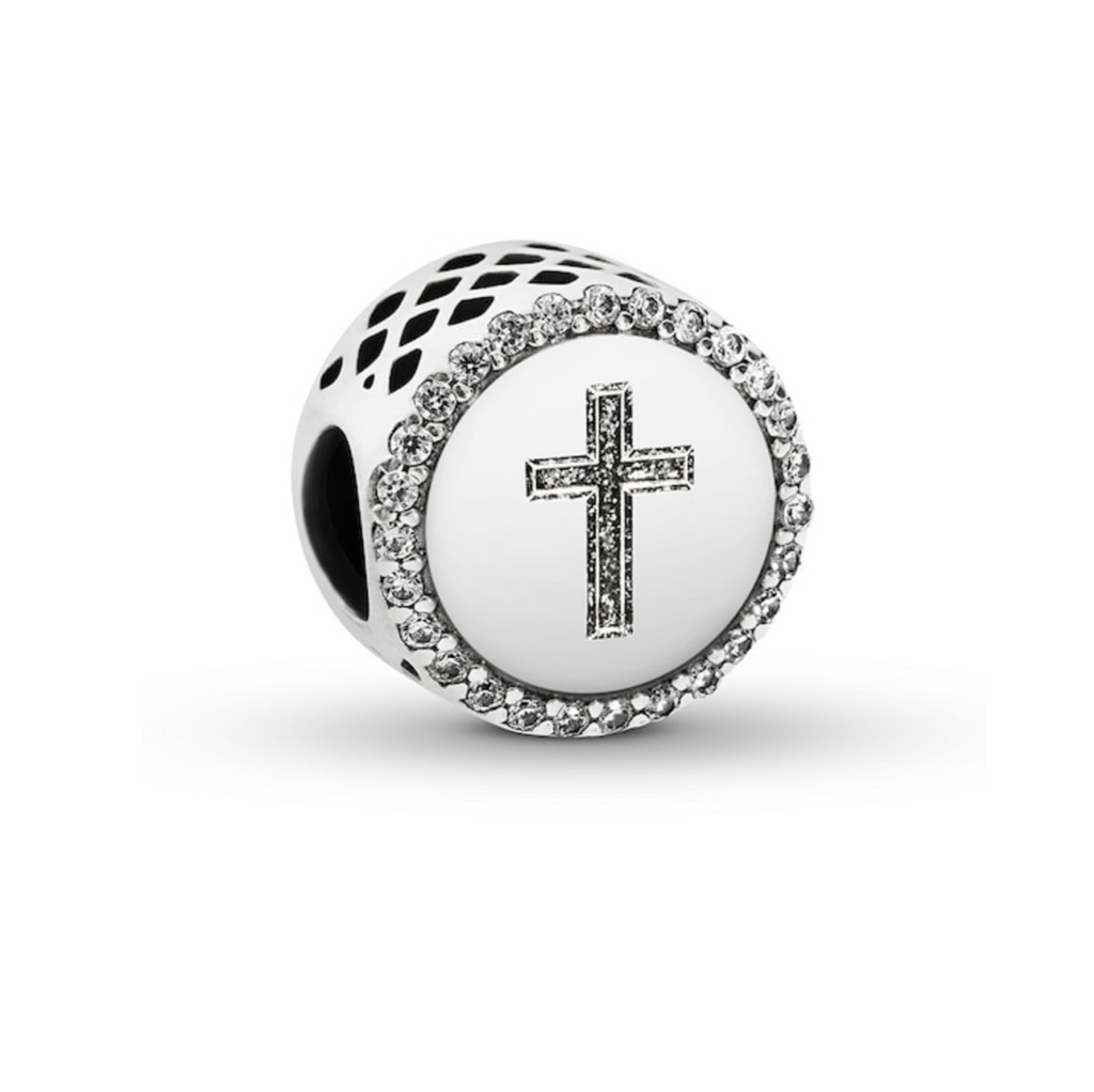 Pandora Faith Cross Charm in sterling silver with sparkling czs around the edge and the cross engraved in sparkling silver enamel.