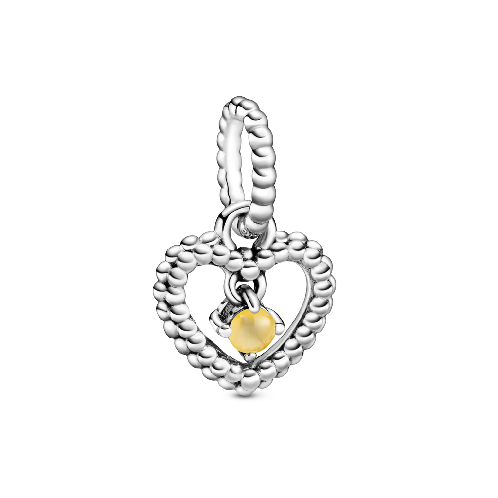 Honey Beaded Heart Dangle Charm
