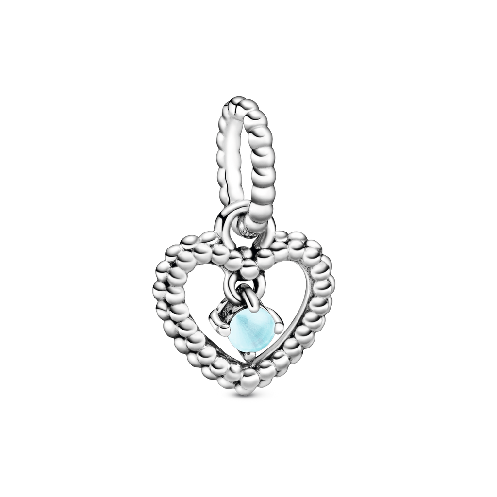 Sky Blue Beaded Heart Dangle Charm - Pandora Jewelry Las Vegas