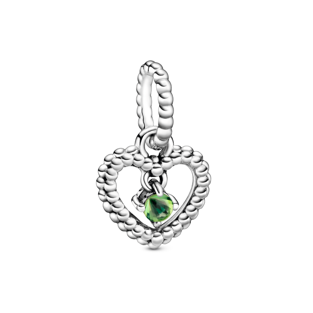 Spring Green Beaded Heart Dangle Charm - Pandora Jewelry Las Vegas