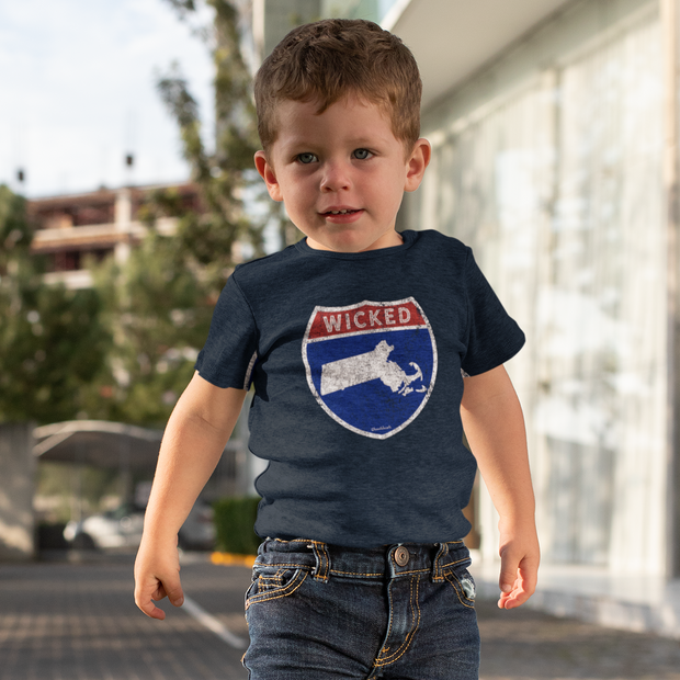 Wicked Massachusetts Highway Sign Toddler T-Shirt