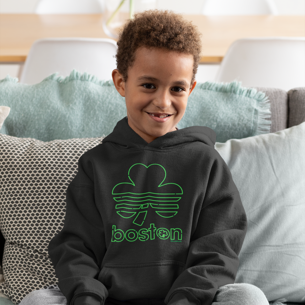 Boston Shamrock Neon Sign Youth Sweatshirt