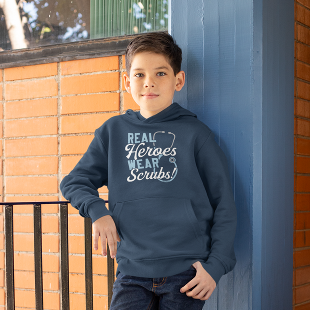 Real Heroes Wear Scrubs Youth Sweatshirt