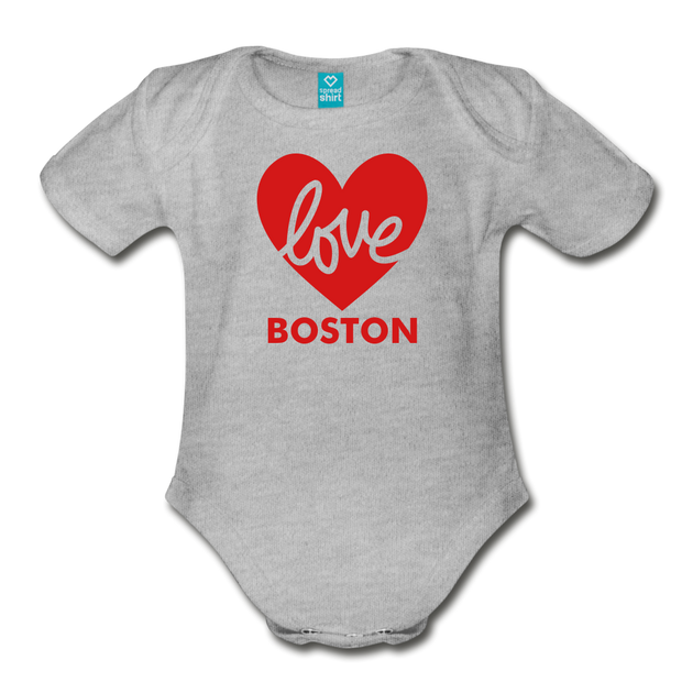 Love Boston Heart Infant One Piece - heather gray