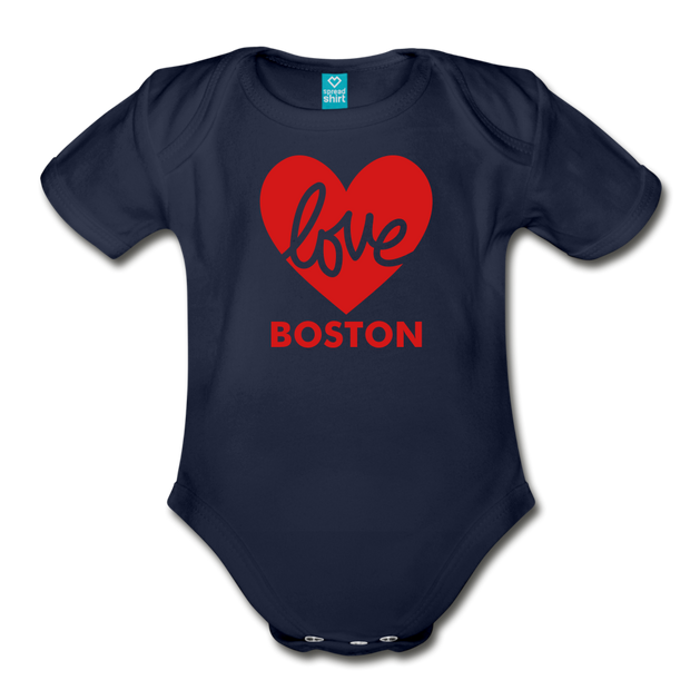 Love Boston Heart Infant One Piece - dark navy