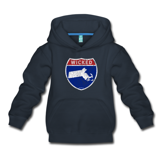 Wicked Massachusetts Highway Sign Youth Sweatshirt - navy