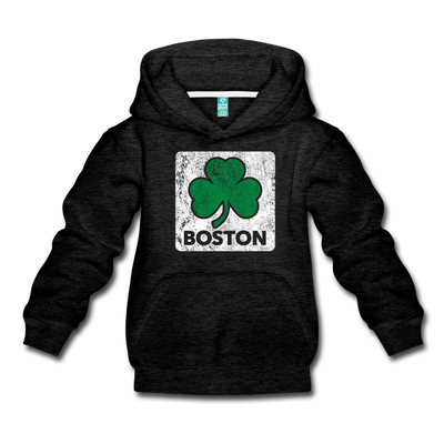 Boston Shamrock Classic Kids Youth Sweatshirt - charcoal gray