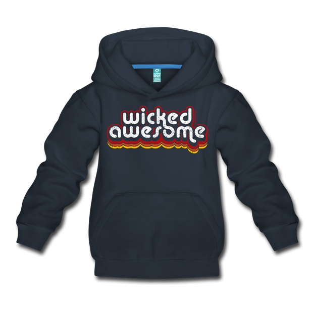 Wicked Awesome Retro Kids Youth Sweatshirt - navy