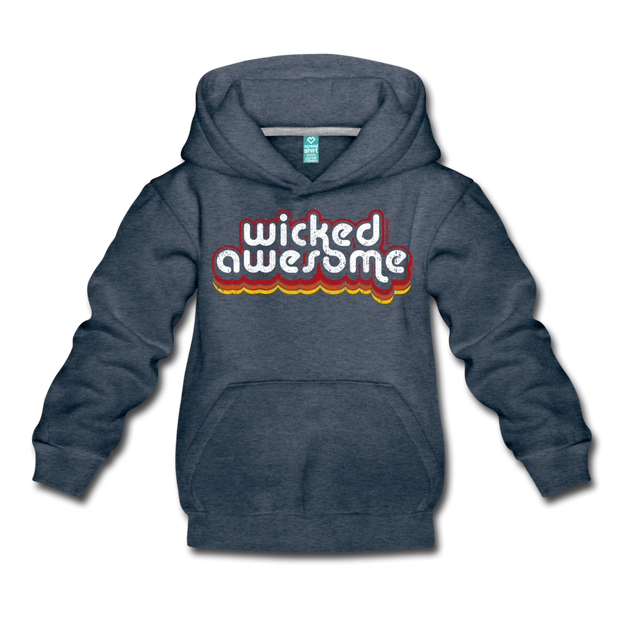Wicked Awesome Retro Kids Youth Sweatshirt - heather denim