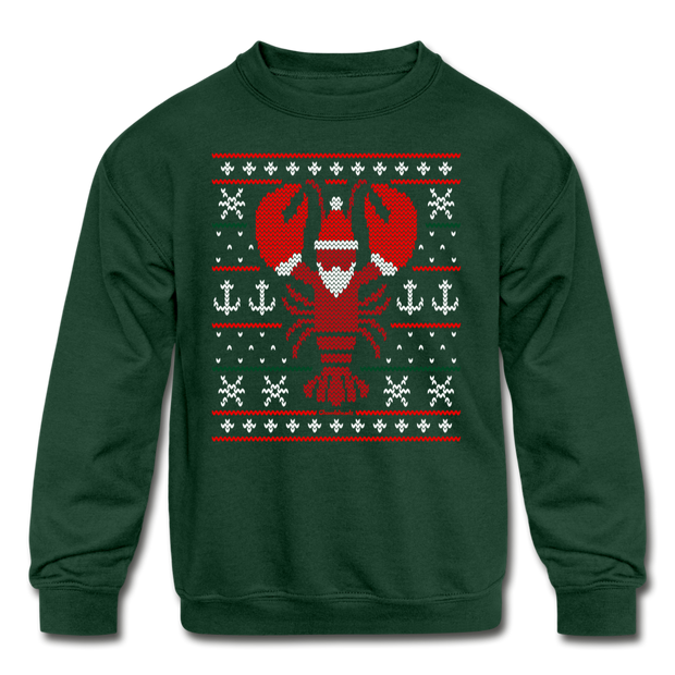 Ugly Lobstah Holiday Kids Youth Sweatshirt - forest green