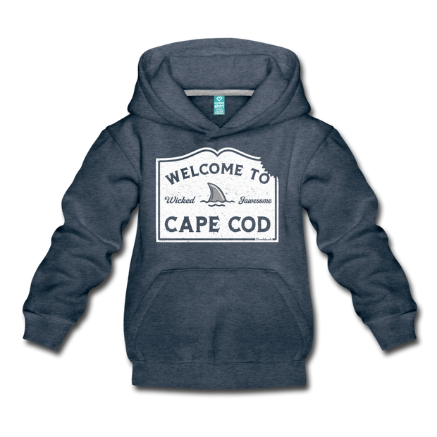 Welcome To Cape Cod Youth Sweatshirt - heather denim