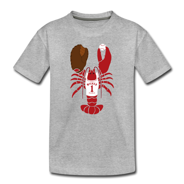 Baseball Lobster Toddler T-Shirt - heather gray