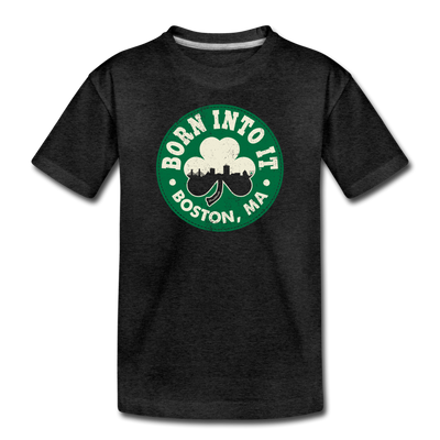 Born Into It Boston Shamrock Toddler T-Shirt - charcoal gray