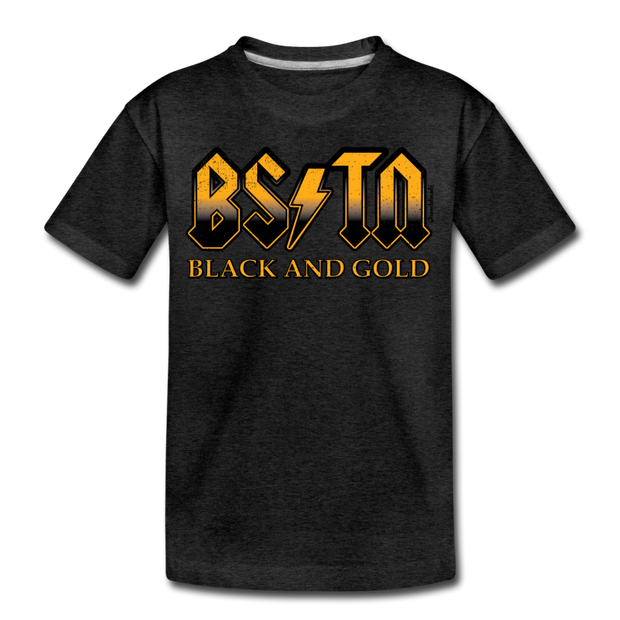 Boston Black & Gold High Voltage Youth T-Shirt - charcoal gray