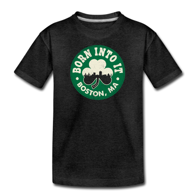 Born Into It Boston Shamrock Youth T-Shirt - charcoal gray
