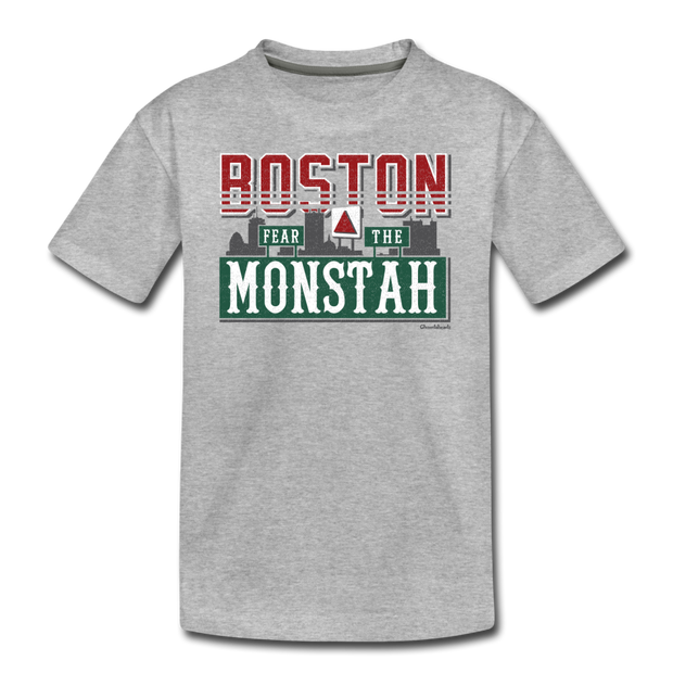Boston Fear The Monstah Youth T-Shirt - heather gray