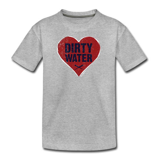 Heart Dirty Water Boston Youth T-Shirt - heather gray
