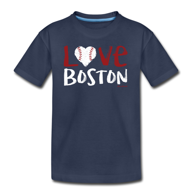 Love Boston Baseball Youth T-Shirt - navy
