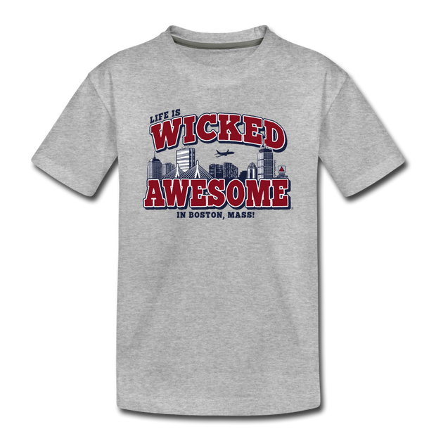 Life Is Wicked Awesome Youth T-Shirt - heather gray
