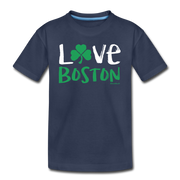 Love Boston Shamrock Youth T-Shirt - navy