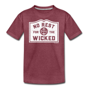 No Rest For The Wicked Youth T-Shirt - heather burgundy