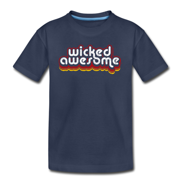 Wicked Awesome Retro Youth T-Shirt - navy