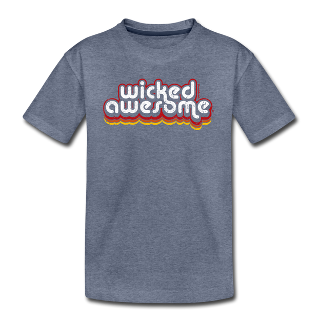 Wicked Awesome Retro Youth T-Shirt - heather blue