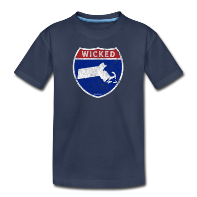 Wicked Massachusetts Highway Sign Youth T-Shirt - navy