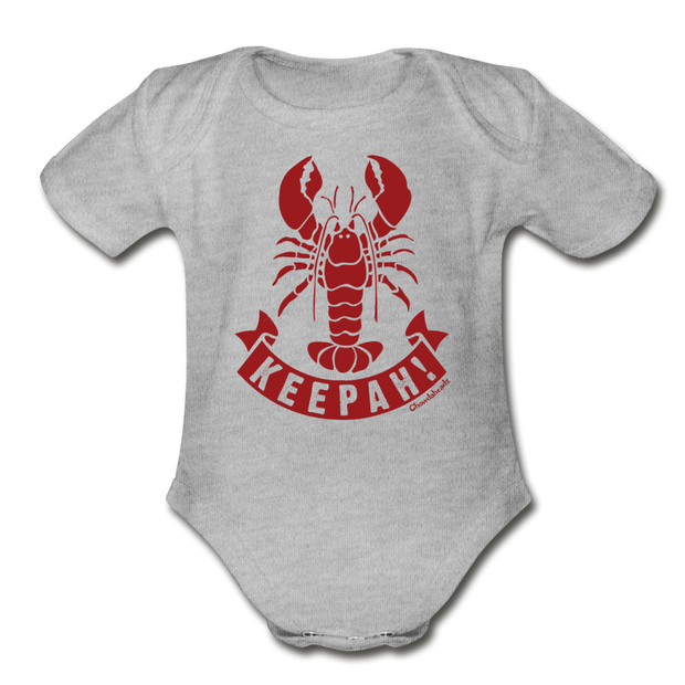 Lobster Keepah Infant One Piece - heather gray