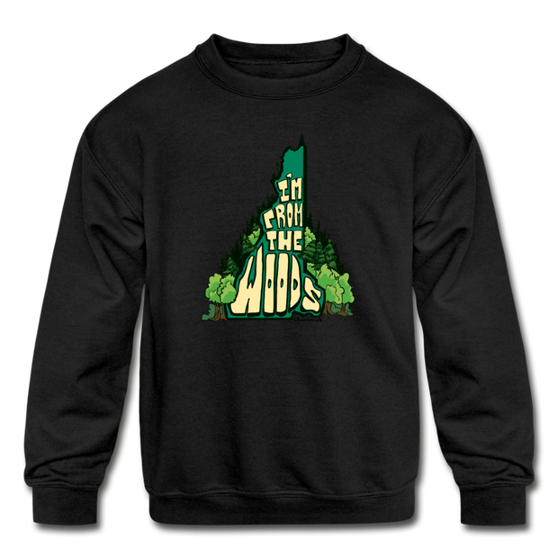 I'm from the woods NH Kids' Crewneck Sweatshirt - black