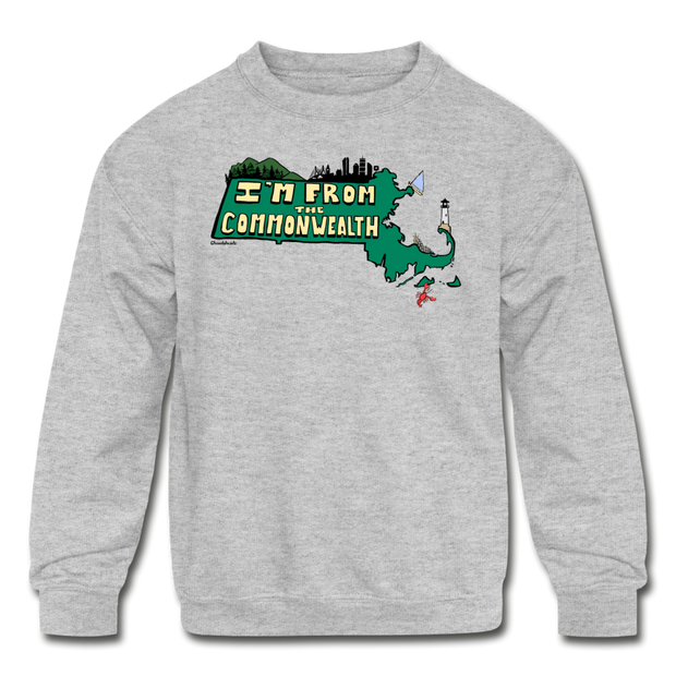 I'm from the Commonwealth Kids' Crewneck Sweatshirt - heather gray