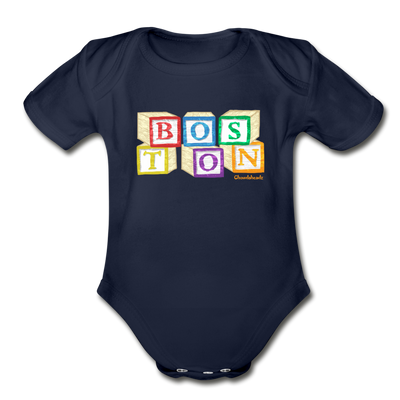 Boston wood blocks Infant One Piece - dark navy