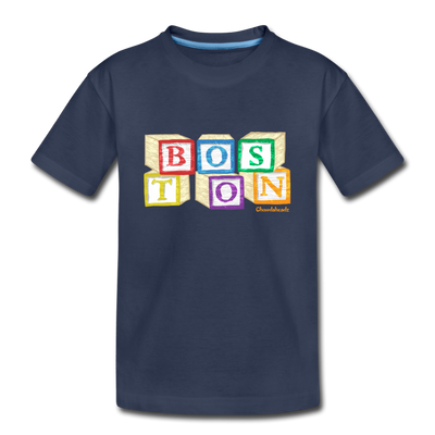 Boston wood block Toddler T-Shirt - navy