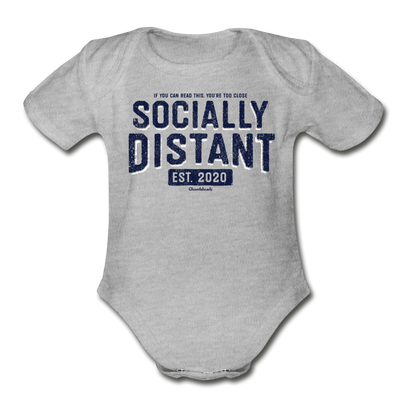 Socially Distant Infant One Piece - heather gray