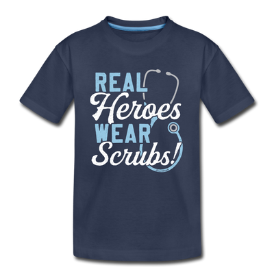 Real Heroes Wear Scrubs Youth T-shirt - navy
