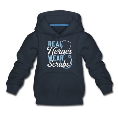 Real Heroes Wear Scrubs Youth Sweatshirt - navy