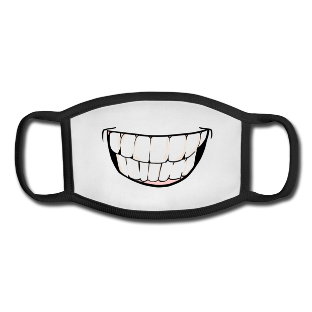 Youth Smile Face Mask - white/black