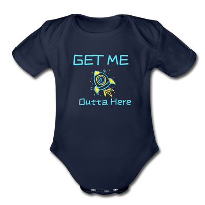 Get Me Outta Here Organic Infant One PIece - dark navy