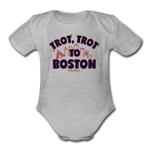 Trot Trot To Boston Infant One Piece - heather gray