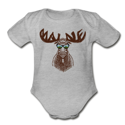 Cool Maine Moose Infant One Piece - heather gray