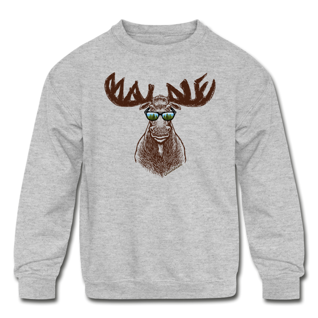 Cool Maine Moose Sweatshirt - heather gray