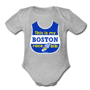 This Is My Boston Race Bib Infant One Piece - heather gray