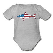 Stars and Stripes Shark T-Shirt Infant One Piece - heather gray
